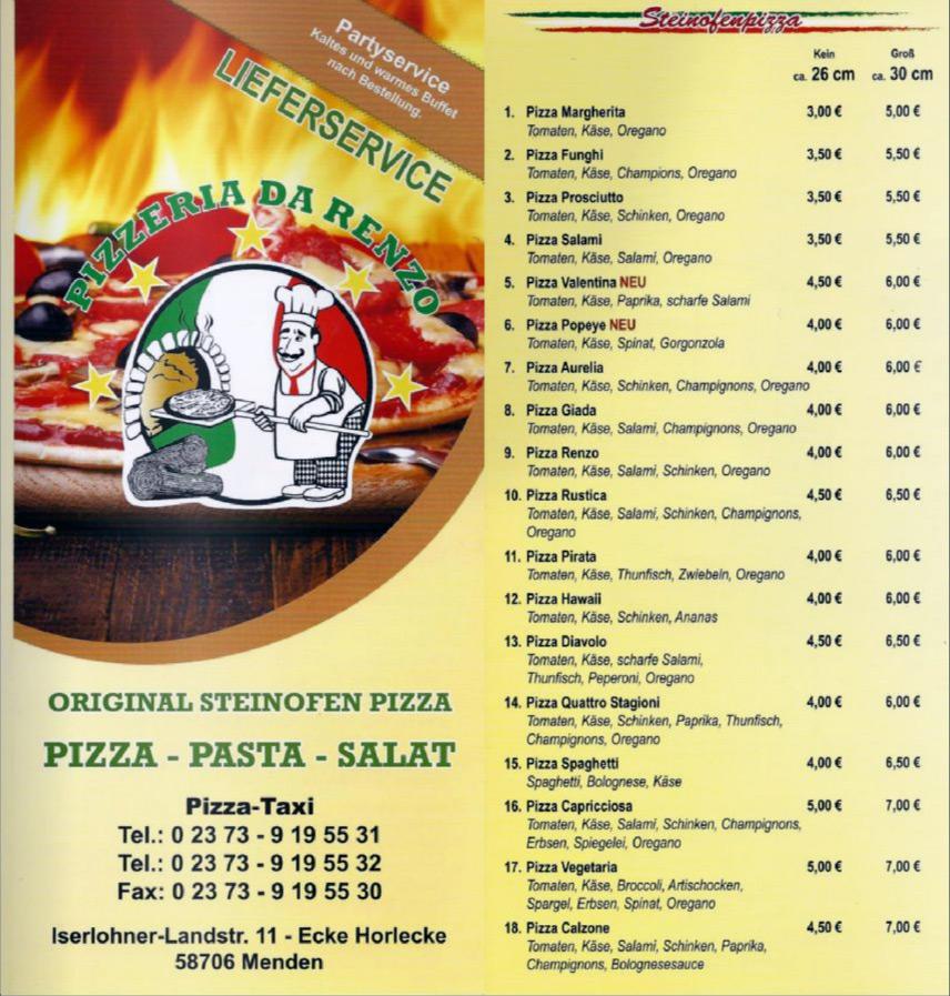 Speisekarte Seite 1 - Pizzeria da Renzo
